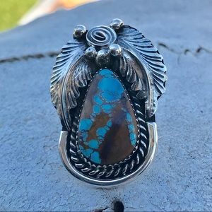 Navajo Sterling Silver Turquoise Ring Sz 9